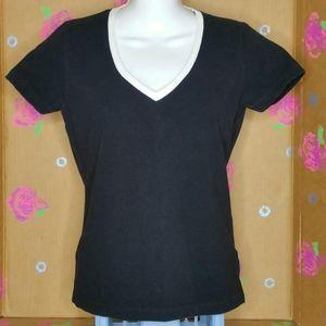 Hennes V Neck Black White Trim Shirt Size L